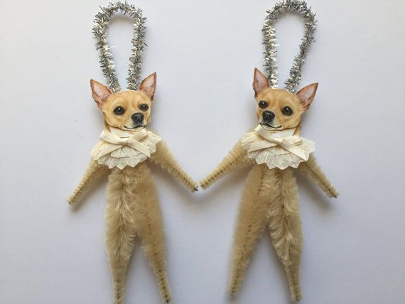 CHIHUAHUA ornaments dog ORNAMENTS vintage by StanleyAndStewart