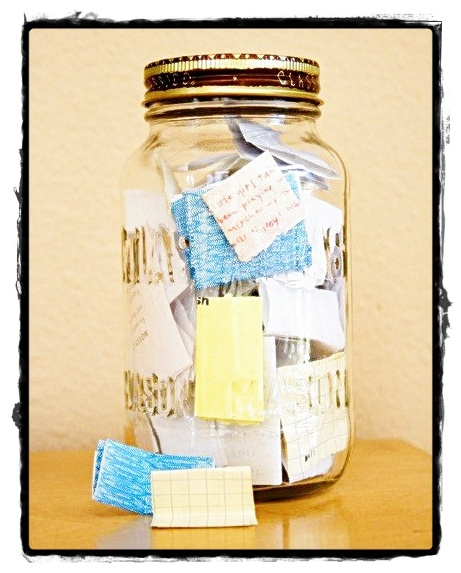 Start the year with an empty jar & fill it with notes about good things that happen.  On New Years Eve, read all the notes to reminisce about happy memories that year.  From Simply Me Just Be from Homestead Survival.