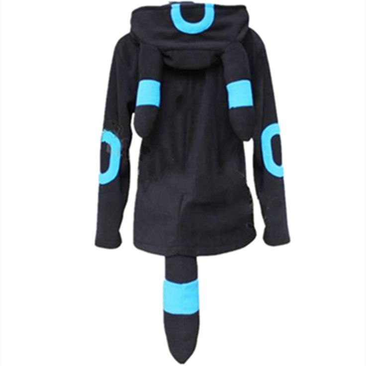 Pokemon Shiny Umbreon Zip Hoodies with Ears Tails //Price: $22.35 & FREE Shipping //