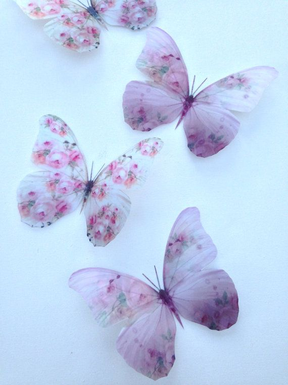 4 White Pink Shabby Chic Pink Rose Buds 3d Butterflies Etsy In 2020 Butterfly Wall Art 3d Butterfly Wall Art Flower Phone Wallpaper