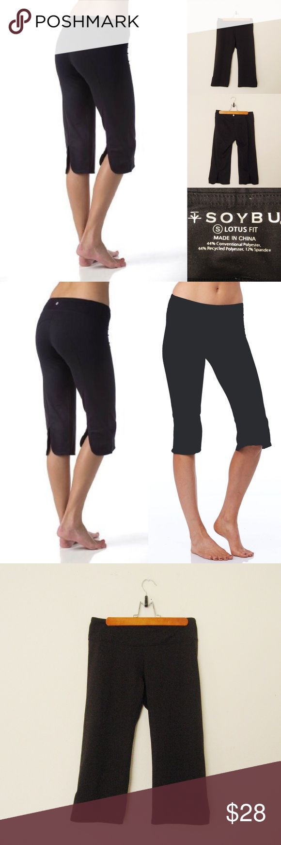 """Soybu Lotus Fit Yoga Capri SOYBU Lotus Fit Yoga Capri Pants. Size S.  Excellent condition. Worn 2-3 times. No flaws. Materials: 44% Polyester/12%Spandex                                                                          Features: Split cuffs/Relax fit/stretchy/sweat wicking/flatlock stitching for durability  Actual Measurements (laying flat): • Waist - 26"""" (around)  • Rise - 10"""" • Inseam - 18""""  • Length - 25"""" (waist to hem) • Leg Cuff - 7.5"""" ~❌SWAP❌TRADE ~ ✔️❤️Bundles📦💕…"""