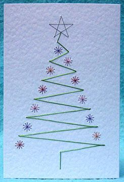 Christmas tree card - Stitched