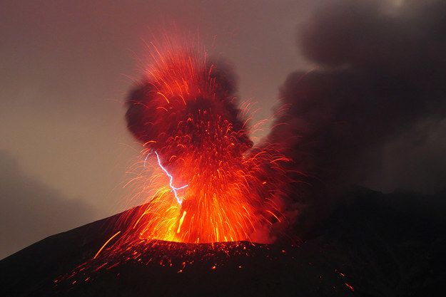 Volcanic lightning usually occurs during dangerously large eruptions, so Szeglat was lucky to capture it. | A Volcanic Eruption In Japan Has Caused A Rare Lightning Display