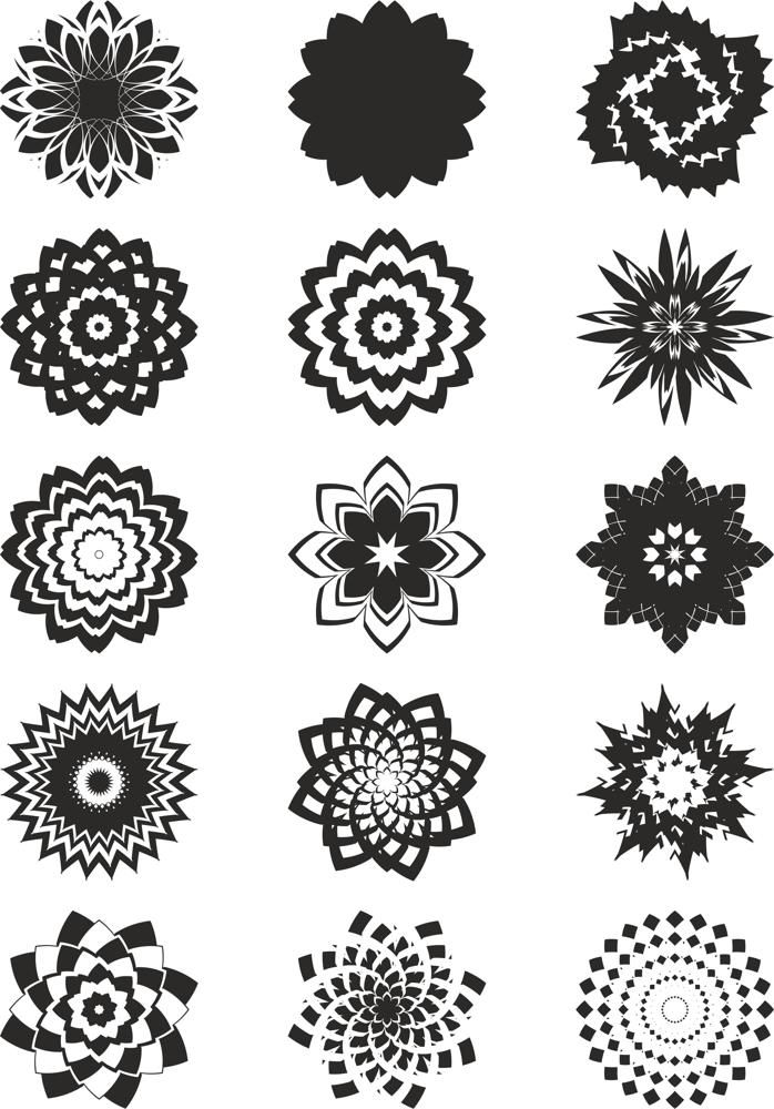 Abstract Flowers Vector Art Free Vector cdr Download