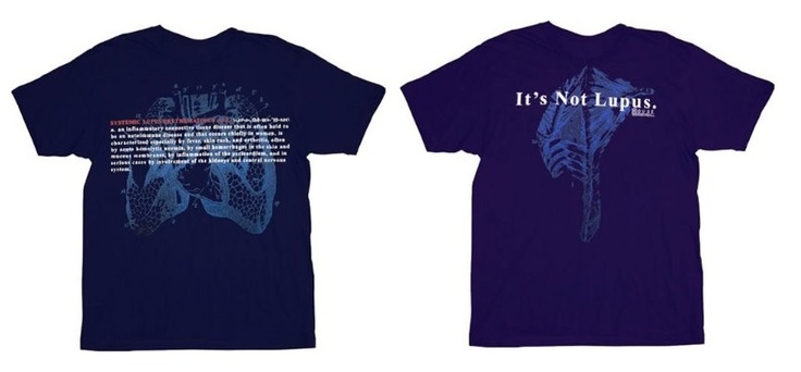 """""""House"""" navy t-shirt. The front defines SLE, an inflammatory connective tissue disease held to be an autoimmune disease that occurs chiefly in woman. It is characterized especially by fever, skin rash, and arthritis, often by acute hemolytic anemia, by small hemorrhages in the skin and mucous membranes, by inflammation of the pericardium, and in serious cases by involvement of the kidneys and central nervous system. The back reads, """"It's not #lupus."""" 100% cotton. Officially Licensed. $17.95"""
