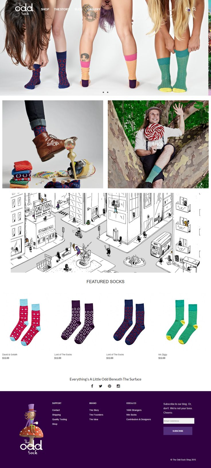 theoddsock.com.au, a cheerful site built with Mr Tailor.  http://themeforest.net/item/mr-tailor-responsive-woocommerce-theme/7292110?&utm_source=pinterest.com&utm_medium=social&utm_content=odd-sock&utm_campaign=showcase #socks #crazy #funky #wordpress #website #creativity #ecommerce