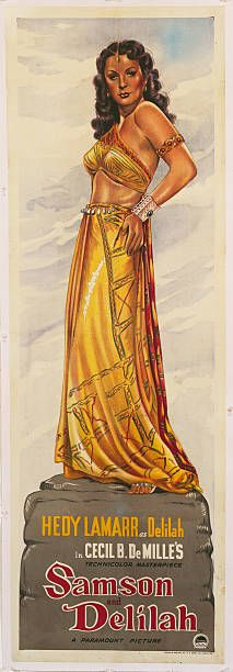 Actress Hedy Lamarr as Delilah on a poster for the Paramount Pictures biblical film 'Samson and Delilah' directed by Cecil B DeMille 1949