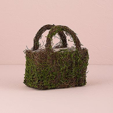 Flower girl baskets - Faux Moss and Wicker Basket with Handles and Liner