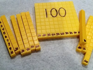 Base ten blocks - I love this idea for student who need additional support making connections in math with place value etc. Tip: Finger nail polish will remove any permanent marker later. Recommended by Charlotte's Clips