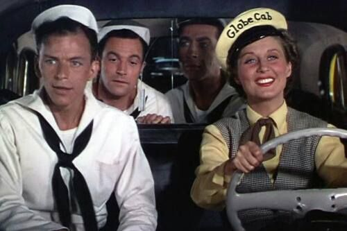 Gene Kelly, Jules Munshin, Frank Sinatra & Betty Garrett On the Town (1949) Also link to song (without Gene & Jules in the back!) http://m.youtube.com/watch?v=fQj3sbXivYY