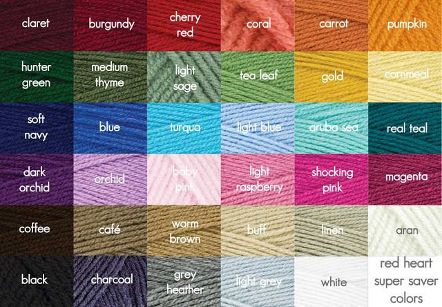 We Love A Good Colour Chart And We Use The One From Red Heart Quite A Bit More About Charts