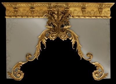 Custom made window drapery cornice with gold finish. Any size, finishes, colors and materials. Field shown is antique mirror.