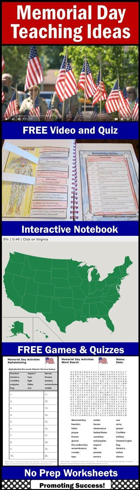 Visit this classroom teacher blog for FREE an informational history facts video and quiz questions for teaching elementary students about Memorial Day. You will also find printable worksheets, fun games, and an interactive notebook craft activity (craftivity) for elementary kids.