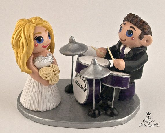 Bride And Groom Playing Drums Custom Wedding Cake Topper On Etsy GBP8397