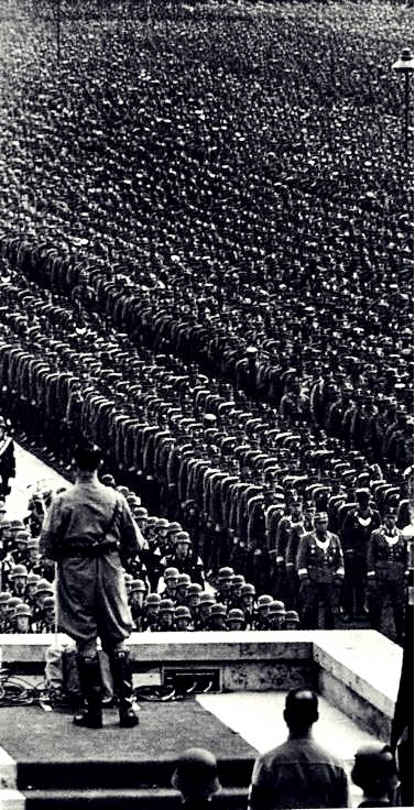 Hitler speaks at one of the many Nuremberg Rallies in the late 1930's.
