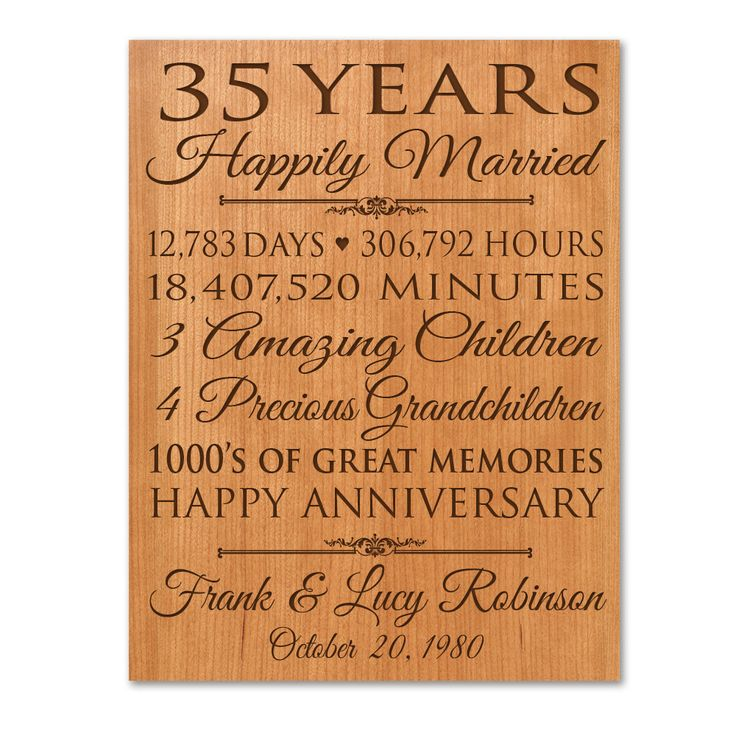 Wedding Anniversary Gifts For Him: Personalized 35th Anniversary Gift For Him,35 Year Wedding