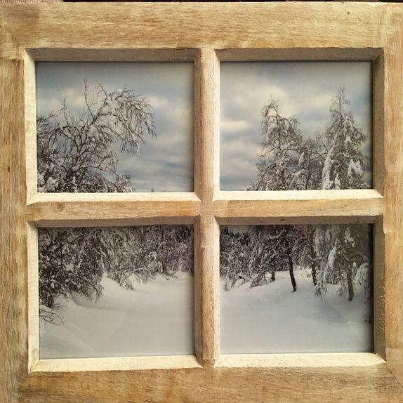 Foto med vintermotiv i vindusramme #chabby #chic #fotografi #interiør #vinter #landskap #dekor #gave #julegave #hytte