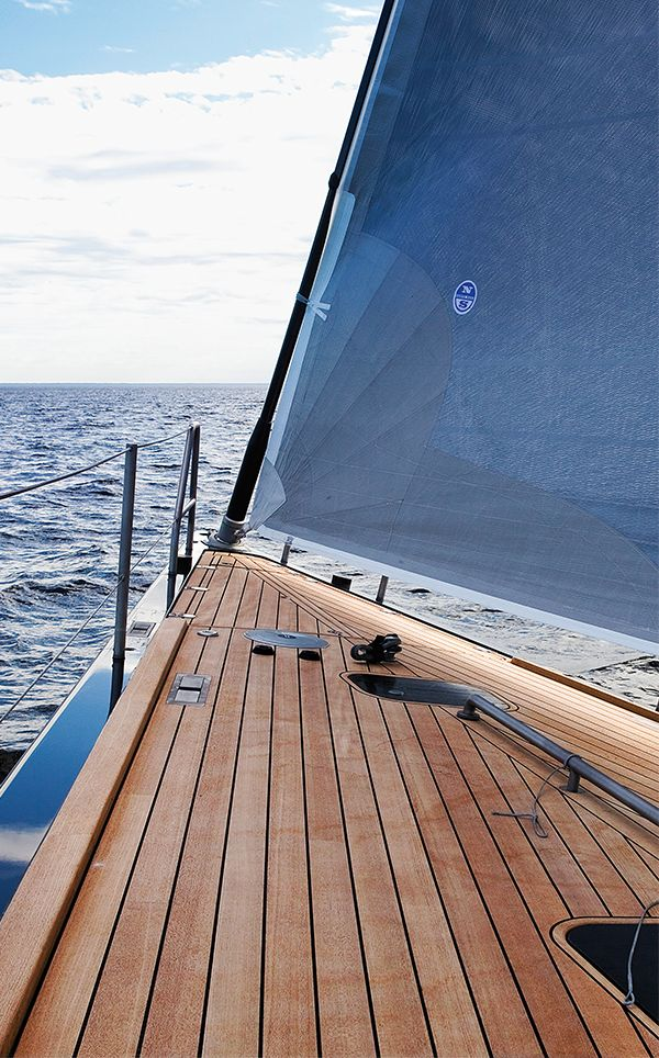 The characteristic dynamic lines and impeccable finish of a Swan yacht are in evidence on the teak deck.