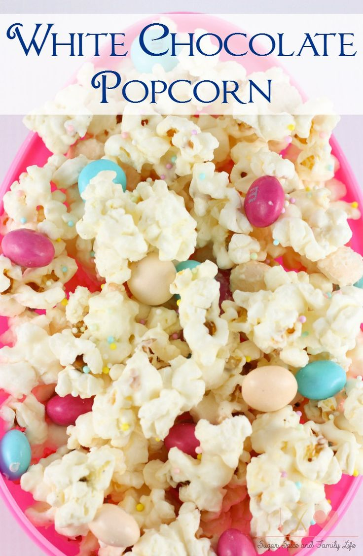 , sweet snack. The popcorn is coated in white chocolate and mixed ...