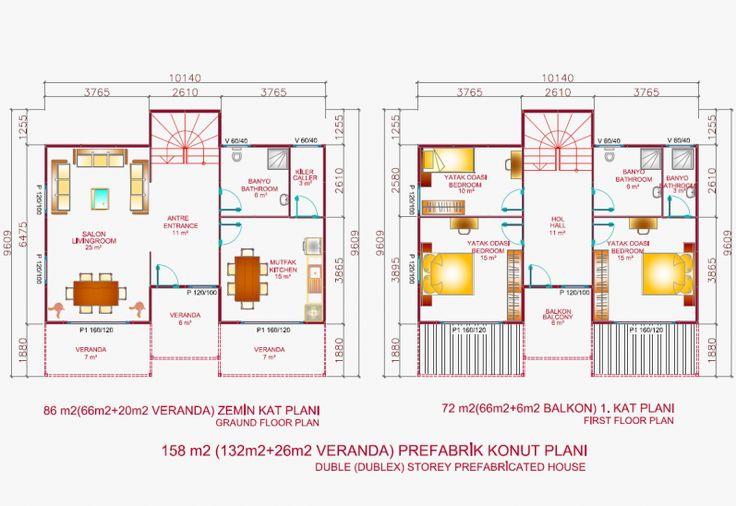 158 M² İki Katlı Evler | Makro Prefabrik