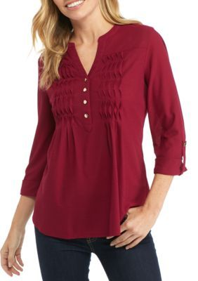 New Directions Women's Petite Size Henley Neck With Front Pucker Top - Sangria - Pxl