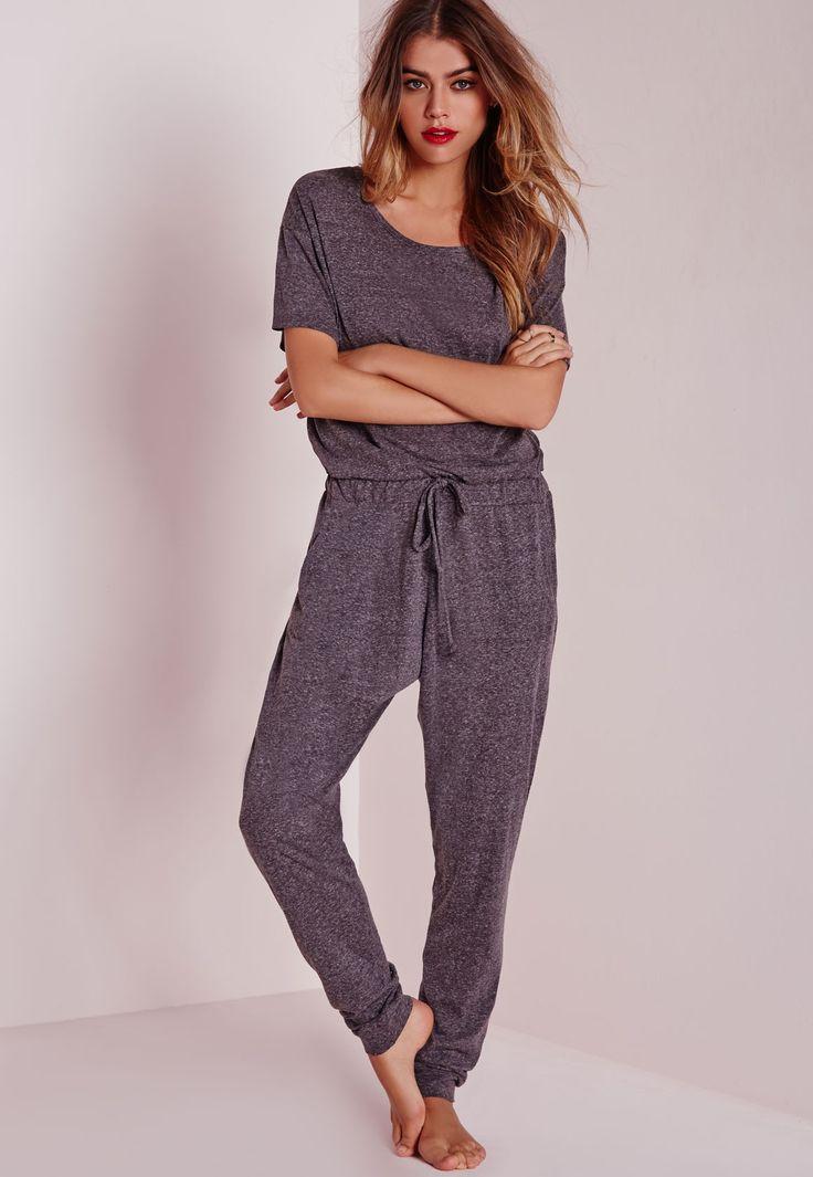 Missguided - Speckle Loungewear Onesie Grey
