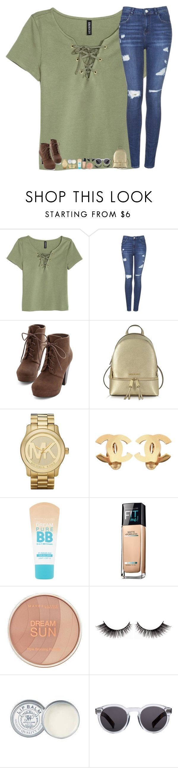 """NEW SEASON OF GILMORE GIRLS IS ON NETFLIX BYE!!!!!!!!!!"" by mmprep ❤ liked on Polyvore featuring H&M, Topshop, Michael Kors, Chanel, Maybelline, Jack Wills and Illesteva"
