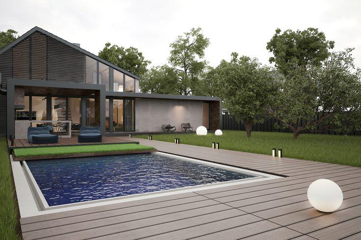 Архитектурное решение современного дома с бассейном. Бассейн можно закрыть с помощью пульта управления и специальной панели, на которую высажен живой газон.  Архитектурное решение - Zooi