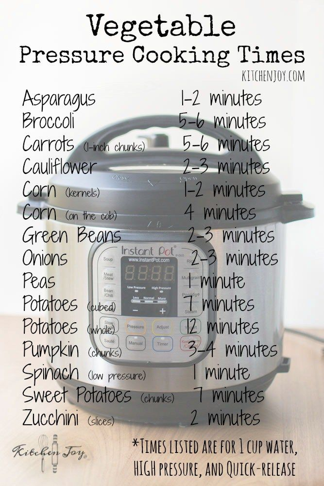 Pressure Cooker Vegetable Cooking Times - Kitchen Joy®