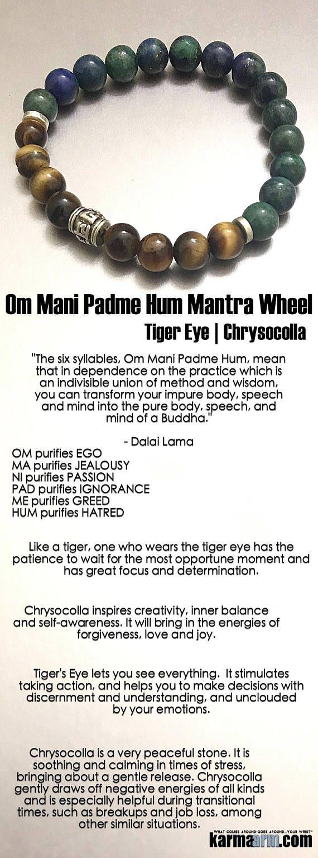 Om Mani Padme Hum Moulin à prières: Chrysocolle   Œil de tigre ॐ Bracelet de perles de yoga Chakra Energy Guérison Reiki Méditation Stretch Bijoux   – Mind & Body