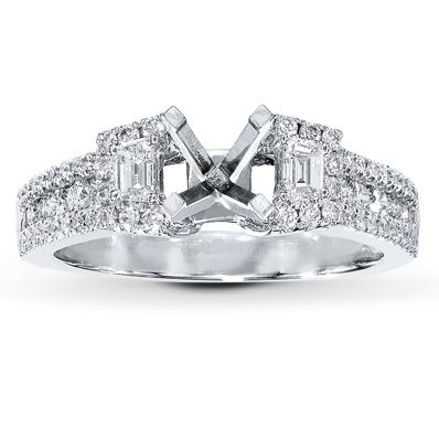 Diamond Ring Setting 5/8 carat tw 14K White Gold
