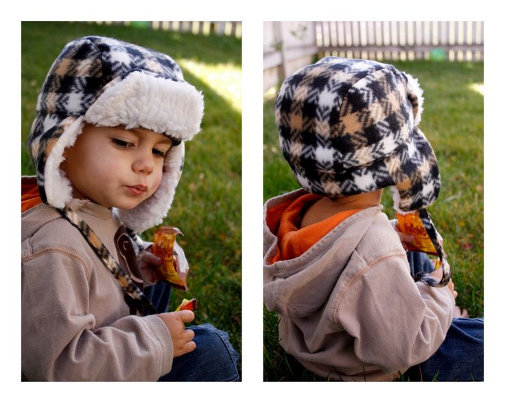 """I am so excited to share this tutorial with you. I saw these """"bomber"""" hats in Walmart and thought they looked way cute. So I challenged myself to make my own version, took my $2.50 to shop at Joann's, and got to work. Yep…that is all it took me to make two hats like this. But only because their fleece was on major sale and I used a coupon on"""