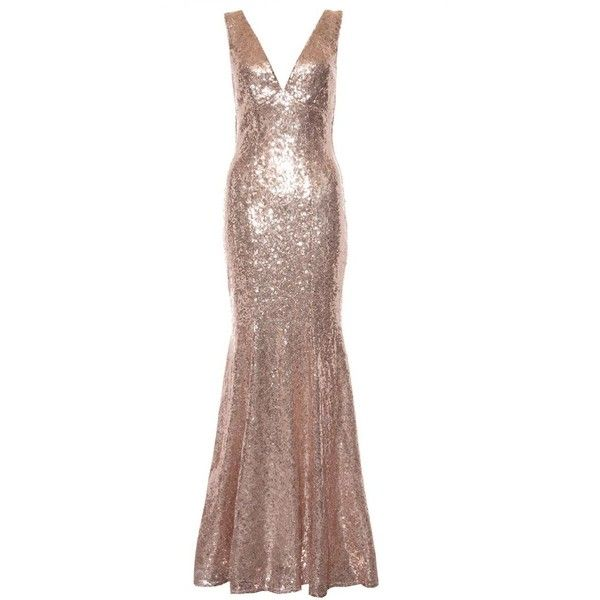 Rose Gold Sequin V Neck Fishtail Maxi Dresses ($125) ❤ liked on Polyvore featuring dresses, gowns, brown maxi dress, brown dresses, sequin dress, evening maxi dresses and v-neck maxi dresses