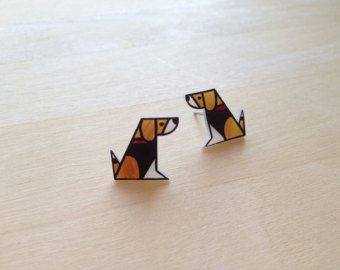 Dog Lover Geometric Beagle Post Earrings