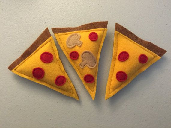 These slices of pizza catnip toys are so much fun!! Your furball will love them!  #pizza #cattoys #catnip  Pizza Cat Toy - Catnip Cat Toy