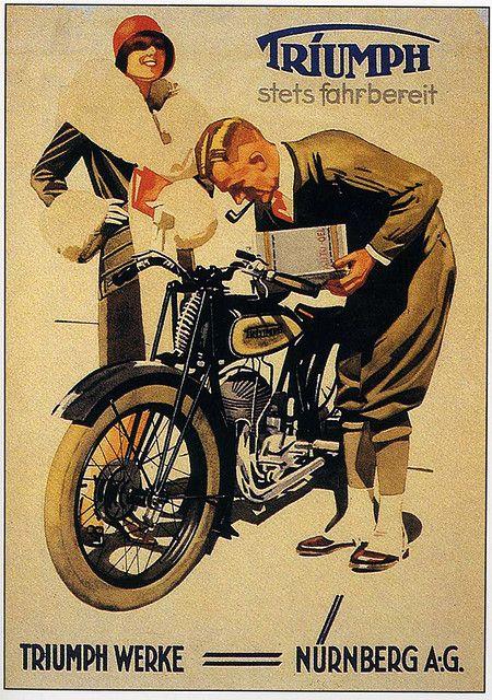 Motorcycle poster, triumph, vintage
