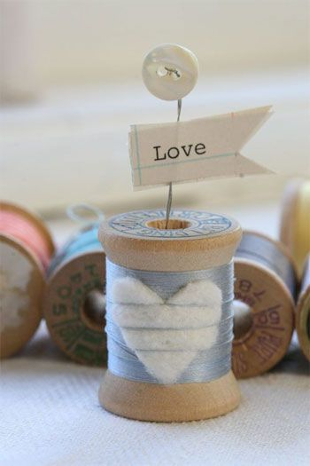 Thread spool - fun place card holder or ornament