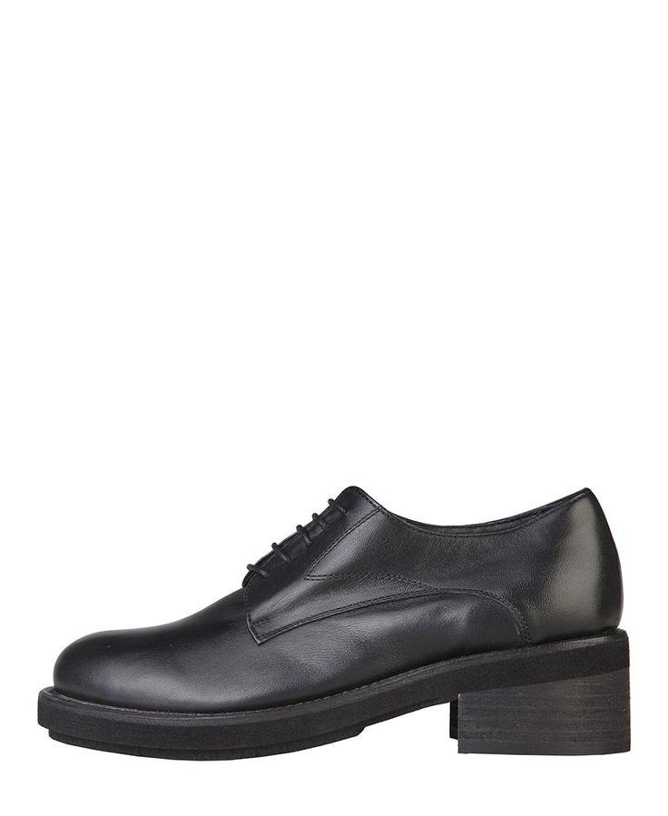 Versace 1969 abbigliamento sportivo srl milano italia - scarpa stringata da donna - pelle vera - a punta - chiusura con  - Stringata donna cg338 Nero