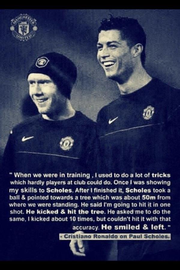 Cristiano Ronaldo on Paul Scholes - #Manchester #United #legend