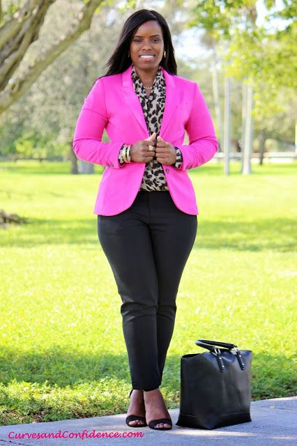 Black ankle pant, black heels, animal top, bright blazer cuffed with chunky metal bracelet