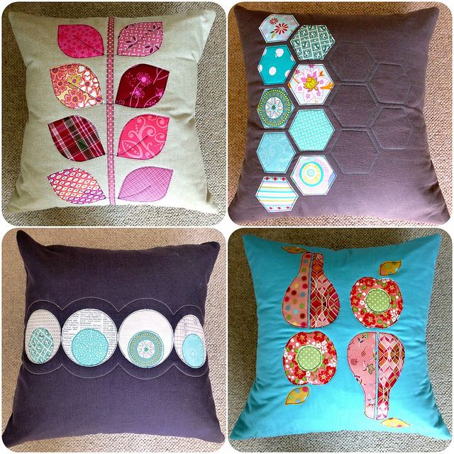Applique cushions (4 designs, pattern available by Just Jude Designs, Etsy)