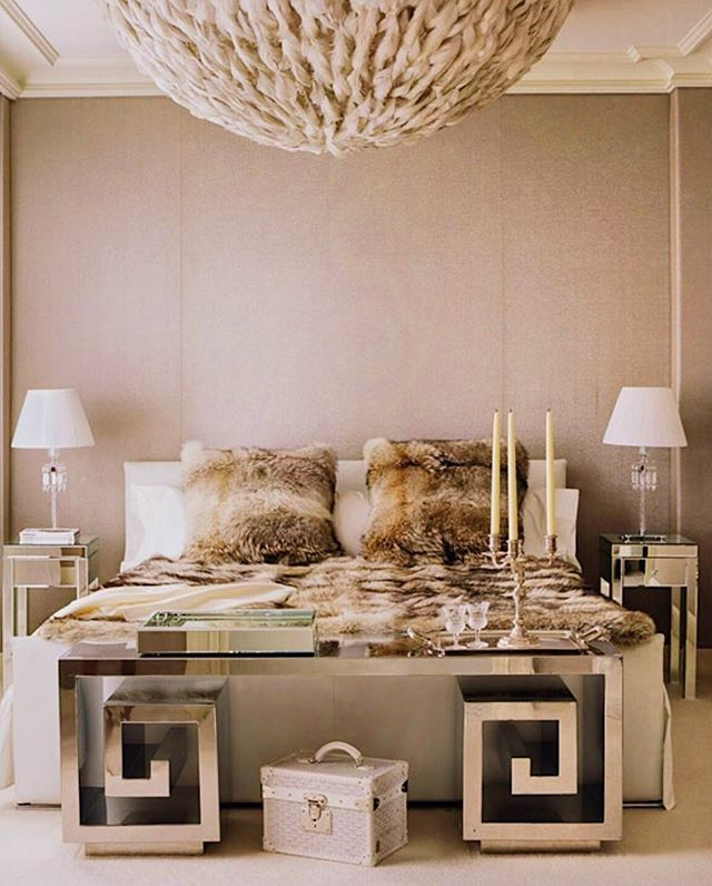Love the glass table and faux fur bedding  credit: decoholic . . . #interior #interiordesign #interiors #interiordesigner #student #bedroom #bedroomgoals #bedroomideas #bedroomdecor #bedroomdesign #fauxfur #glass #glam #glamour #luxurylifestyle #luxurious #luxuryhome #fall #autumn #girly #girlygirl #girlythings #girlypost #love #loveit - Architecture and Home Decor - Bedroom - Bathroom - Kitchen And Living Room Interior Design Decorating Ideas - #architecture #design #interiordesign #diy…