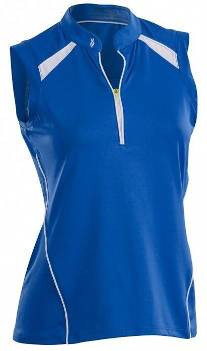 2a047f986ab55 Blue Diva White Nancy Lopez Ladies   Plus Size Sporty Sleeveless Golf Polo  Shirt now at one of the top shops for ladies golf apparel  lorisgolfshoppe    ...