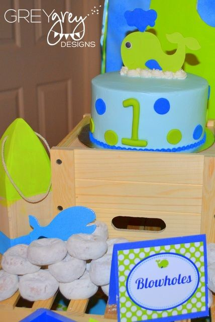 """Photo 5 of 32: Whale, Ocean, Under the Sea / Birthday """"Aiden's Green Whale 1st Birthday Party"""" 