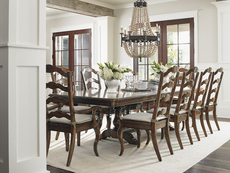 Coventry Hills, Cedar Falls Rectangular Trestle Dining Room Set In Medium  Brown, Dining Room Table Sets, Bedroom Furniture, Curio Cabinets And Solid  Wood ...