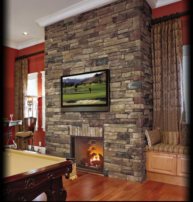 Cultured Stone Chardonnay Country Ledgestone interior fireplace residential wall game room