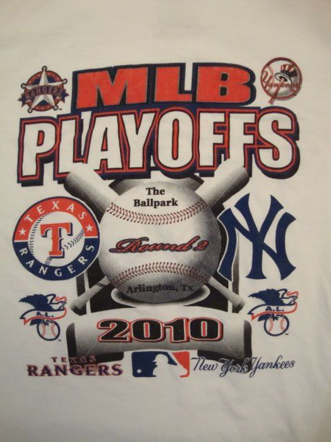 MLB Baseball Playoffs Round 2 Texas Rangers New York Yankees 2011 T Shirt XL #Nike #GraphicTee