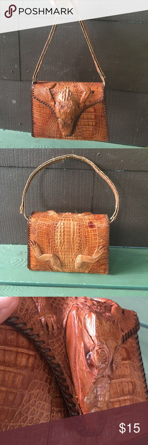 Vintage 70's kitch crocodile handbag Wild croc purse from the 70's in fair vintage condition. Strap is adjustable, inside change pocket. A total statement piece! Bags Mini Bags