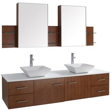 Wall mounted vanity with double vessel sinks basement - Mid century modern double bathroom vanity ...
