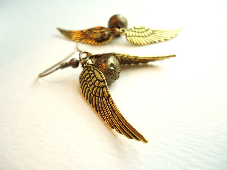 Harry Potter Golden Snitch Earrings. $10.00, via Etsy.